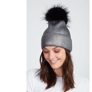 Jocelyn Fox Fur Pom-pom Metallic Beanie